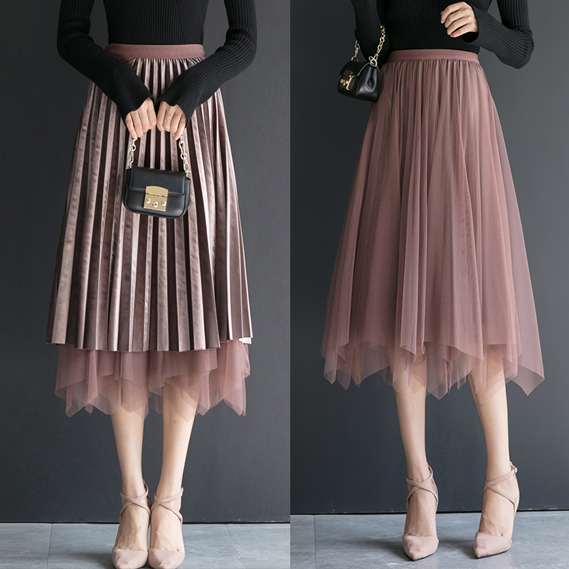 Golden velvet skirt womens new fall / winter 2020 new irregular two side net skirt medium length high waist pleated skirt