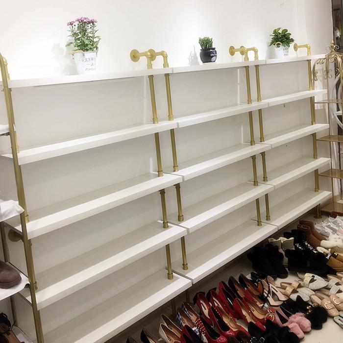 鞋店鞋架上墙多层鞋架金色童鞋架展示架店铺陈列鞋架落地女鞋展柜图片