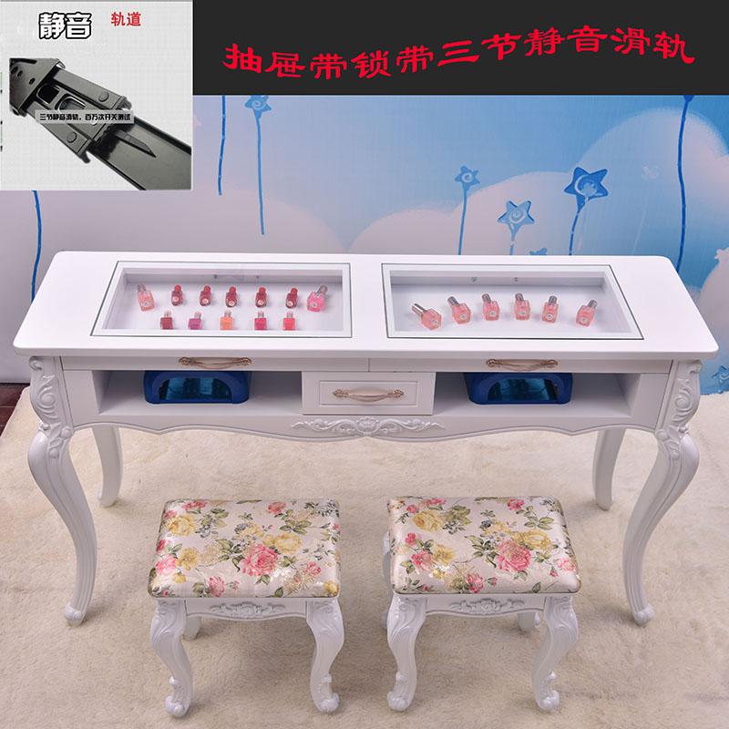 美甲桌子 单人双人三人 双层玻璃面烤漆修甲台欧式美甲店修甲台子