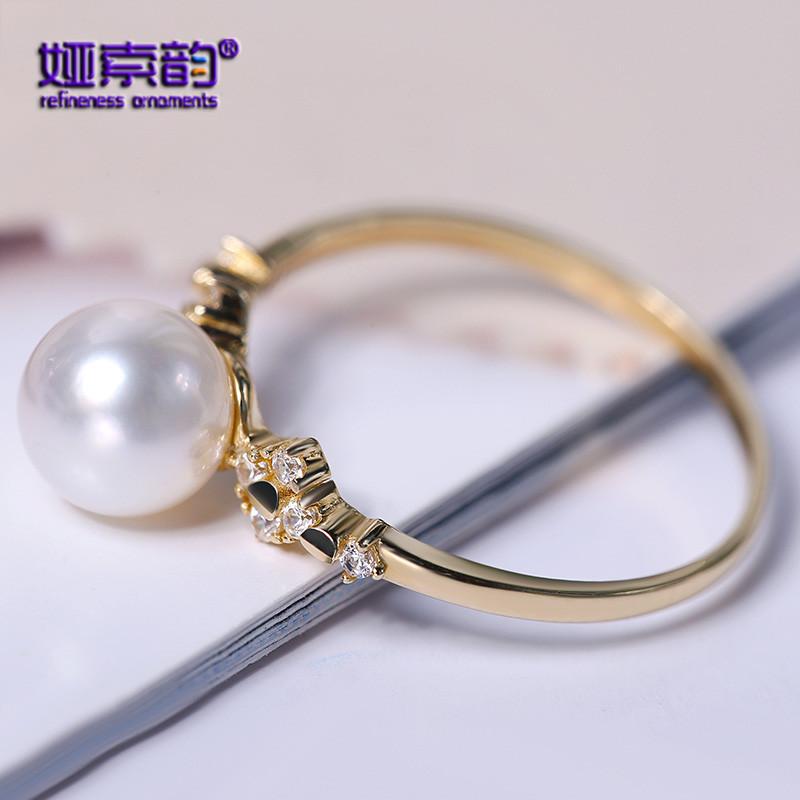 娅索韵新款6.5-7mm正圆强光Akoya海水天然珍珠戒指G14K情人节礼物
