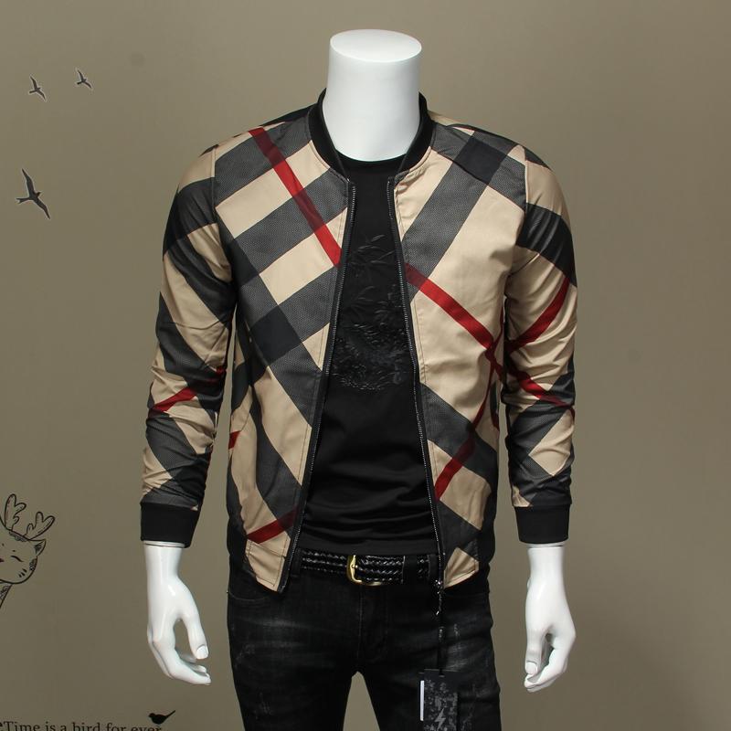欧洲站秋季男士棒球领夹克衫格子百搭外套休闲上衣大码修身褂子男