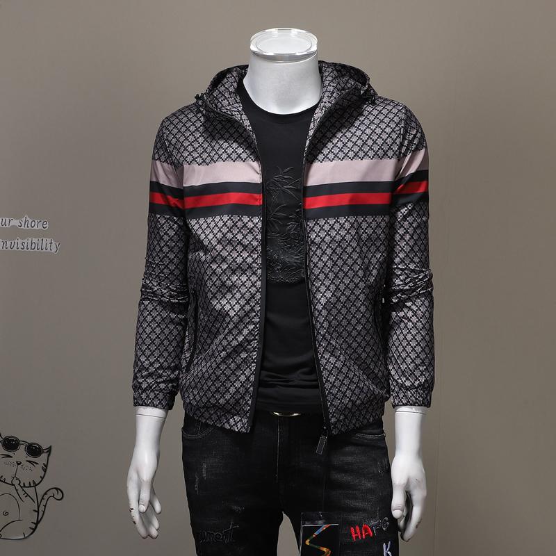 European station mens hooded slim jacket classic lattice versatile coat autumn large casual coat men