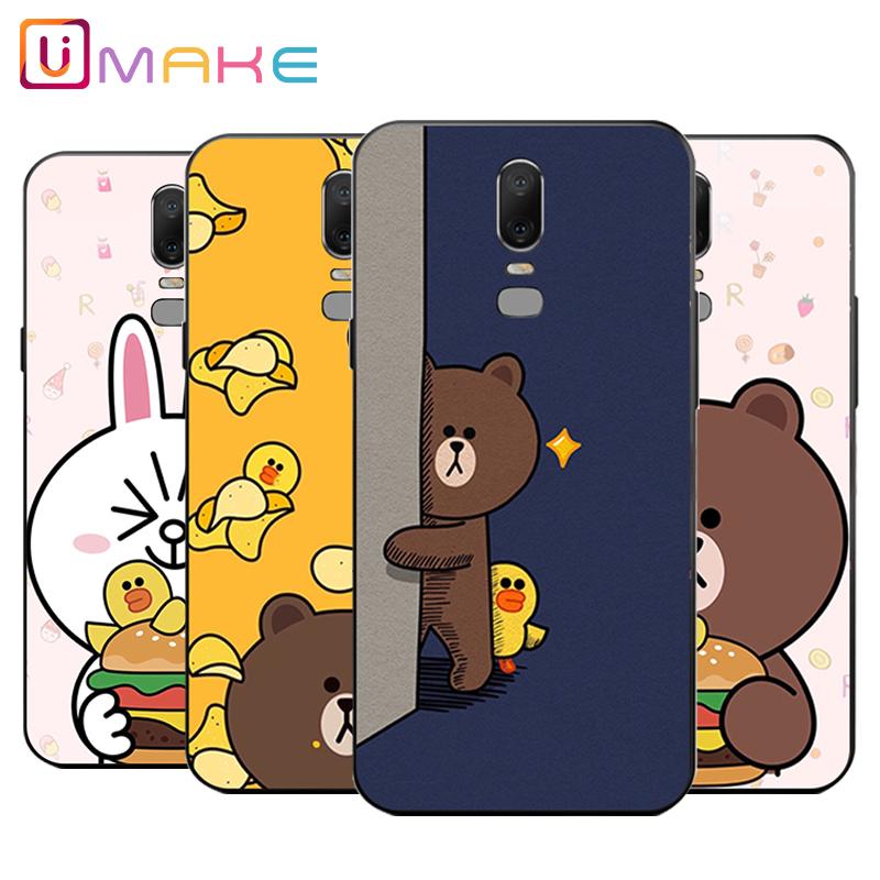 一加6手机壳1+6六超薄oneplus5T软壳防摔男女款可爱卡通兔子熊