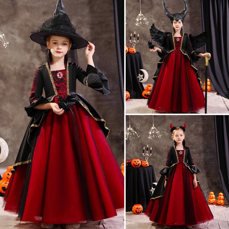 万圣节儿童服装女童cosplay服饰女巫装扮衣服小孩女装礼服公主裙