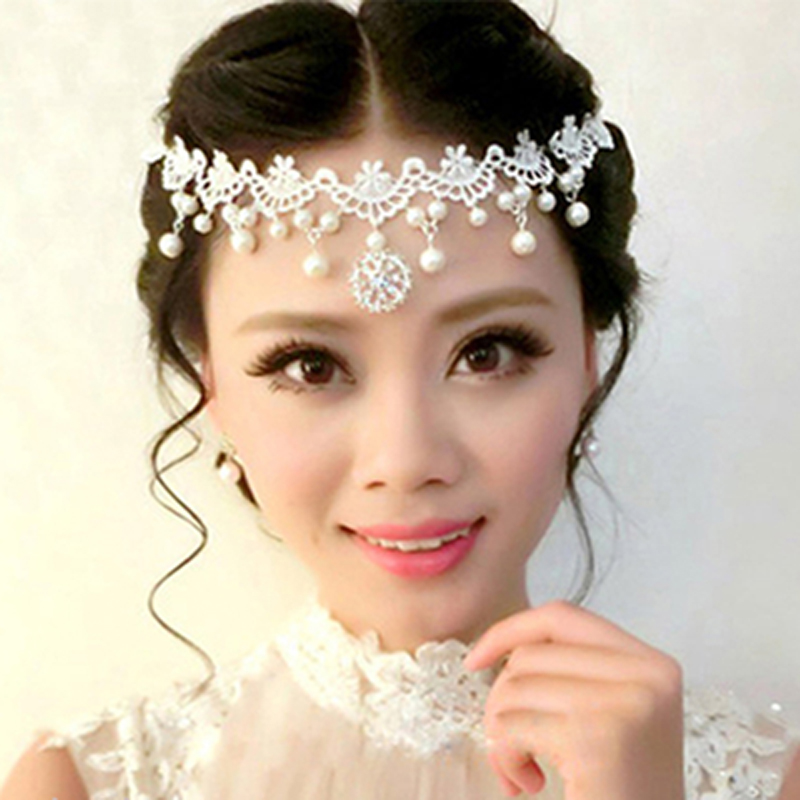 Korean White Lace Necklace collarbone necklace pearl diamond collar pendant bridal dress dance with makeup