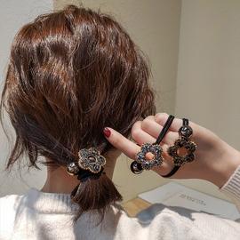 韩国气质花朵闪钻头绳女网红ins优雅发圈丸子头发绳简约百搭皮筋图片