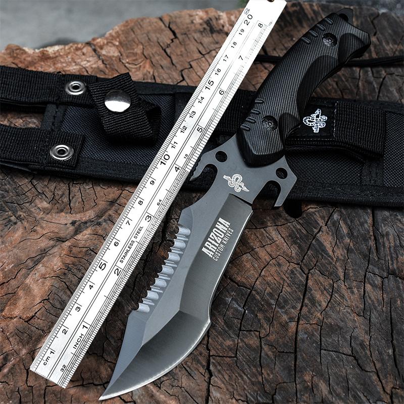 户外小刀 刀具 防身 军工刀直刀野外求生军刀开刃 退役刀 随身