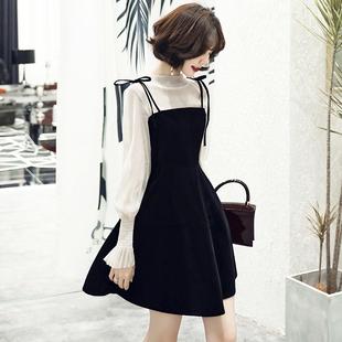 小个子晚礼服裙子平时可穿宴会气质名媛黑色长袖 生日派对连衣裙女