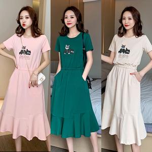 连衣裙女夏2020年新款学生韩版大码显瘦遮肚超仙女气质中长款裙子