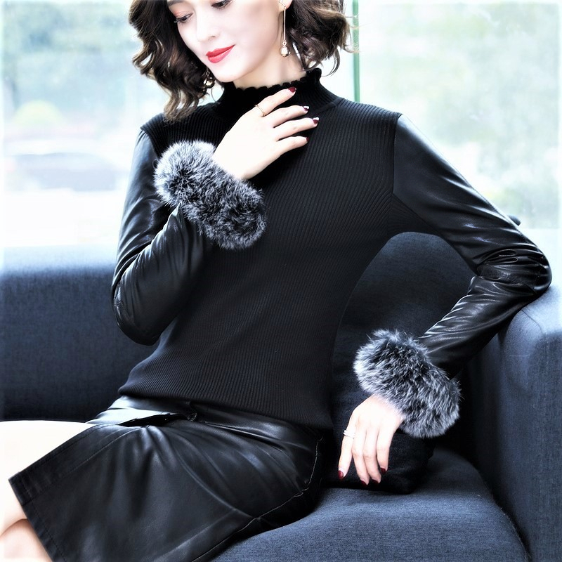 Autumn and winter new style fox fur stitched down cotton sleeve sweater with fur lining and leather sleeve bottom coat for womens Pullover