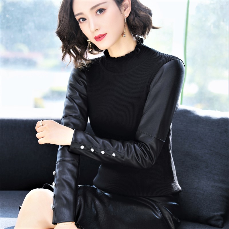 2019 new style fashionable leather sleeve bottoming shirt womens mid winter long fit high neck with black knitted sweater