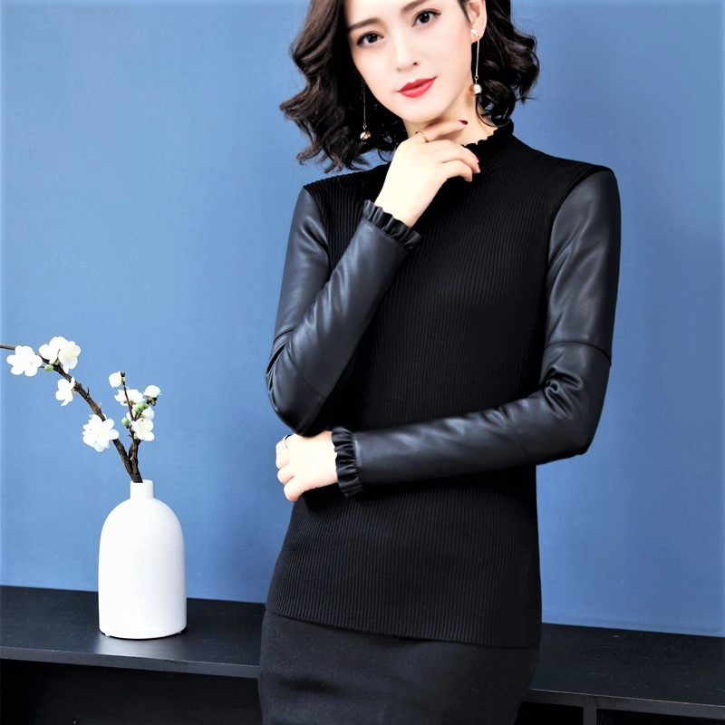 Leather sleeve bottomed sweater womens winter plus down thickening slim fitting half high collar down cotton sleeve sweater with fur lined sweater