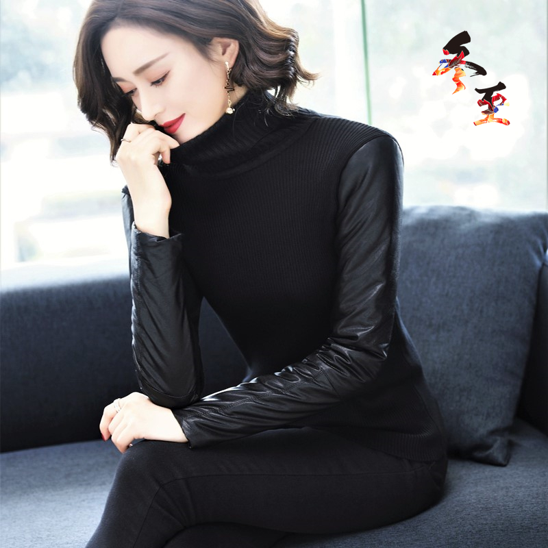 New fashion style sweater medium length high collar with fur inside and down cotton leather sleeve bottom coat for women in autumn and winter