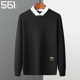 秋冬季2020新款假两件套毛衣衬衫领男士加绒加厚带领男装针织上衣