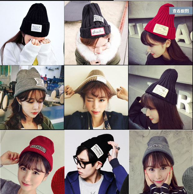Korean autumn and winter thickened cloth letter Knitted Hat Wool Hat Korean versatile warm hat fashion men and women winter