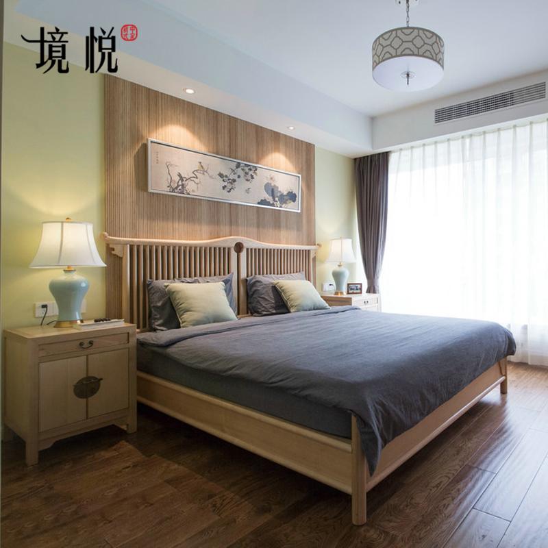 新中式实木床禅意双人床现代简约1.8米1.5米民宿大床原木色家具10-14新券