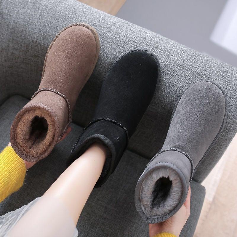 雪地靴女冬2021新款时尚棉靴短筒加绒保暖低帮面包鞋中筒雪地棉鞋
