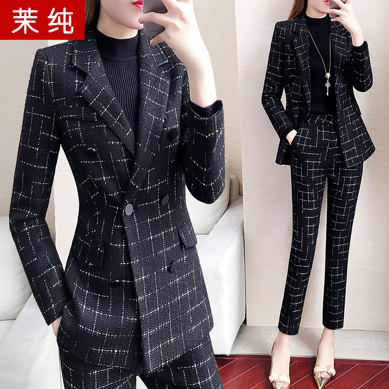 Black Plaid Blazer coat women's 2019 new spring and autumn Korean fashion suit suit women's casual top