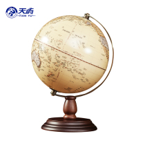 Lantau 20cm HD Antique Relief Globe American Retro Office study decorative wooden Ornaments crafts trumpet medium size optional with lamp luminescent USB separation type