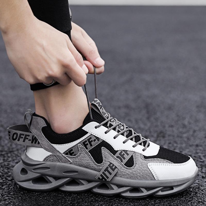 电工穿的男鞋透气老爹鞋网鞋搭配牛仔裤穿装修工穿工装工地工作鞋