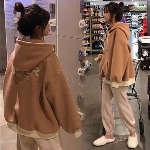 寬松顯瘦休閑學生運動套裝 女加絨假兩件衛衣哈倫褲 秋冬季 韓版