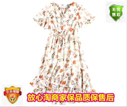 Export to Europe and the United States in spring and summer big size womens dress Floral Chiffon Dress irregular dress high quality fashion tourism