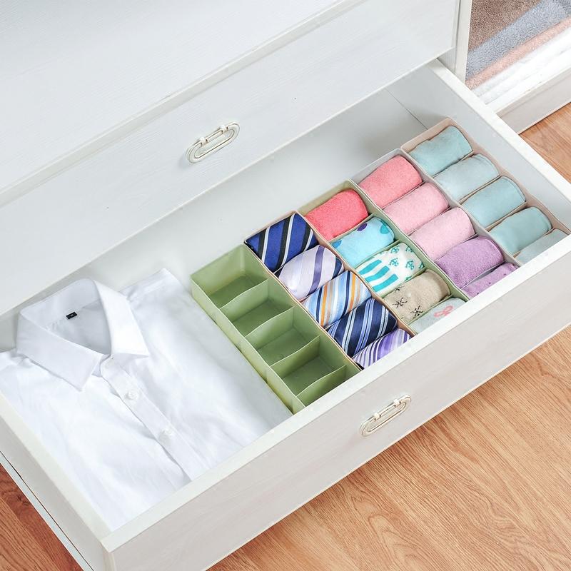 创意5格内衣内裤袜子收纳盒塑料家用抽屉整理盒桌面化妆品储物盒