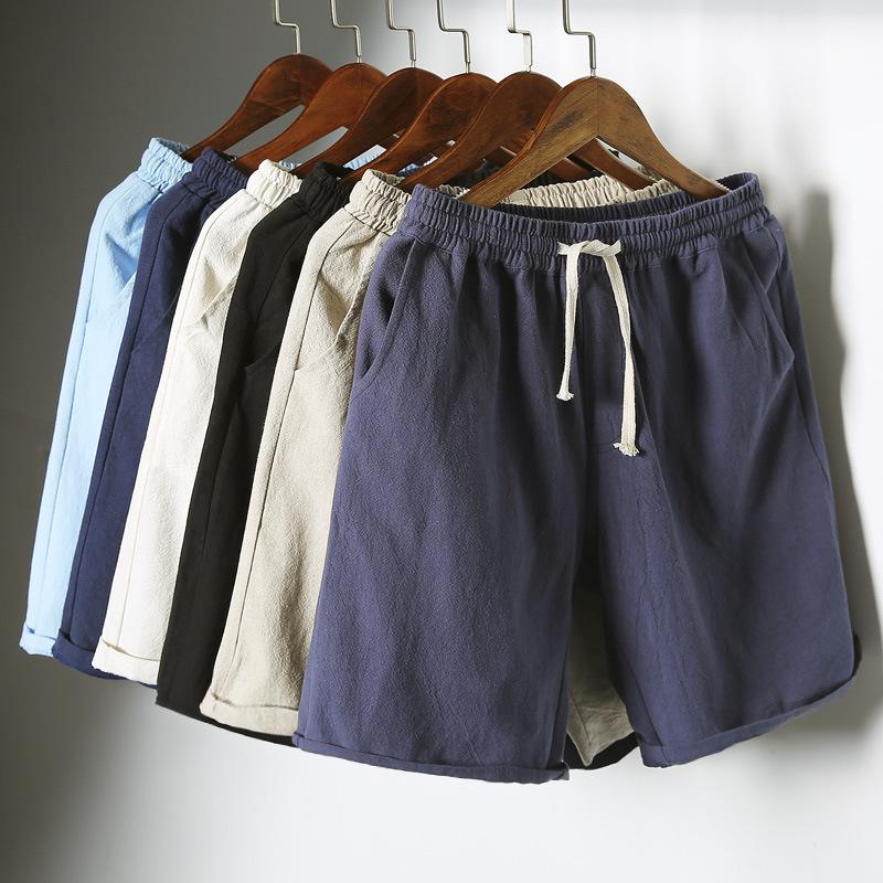 男士休闲短裤夏季新款棉麻宽松潮流五分裤运动沙滩外穿七分裤子男