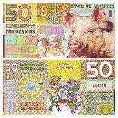 堪培拉银行50元 2019猪年生肖 特价 中国生肖猪 全新UNC 塑料钞