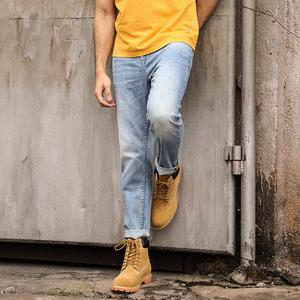 邑牛量身定制浅色牛仔裤男破洞修身直筒九分弹力小脚夏季薄款长裤