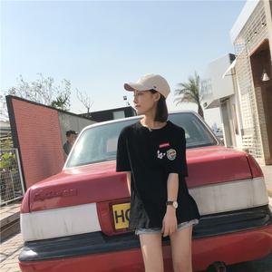 实拍#原创潮牌日系嘻哈中国风bf风原宿风女装t恤短袖衫夏天