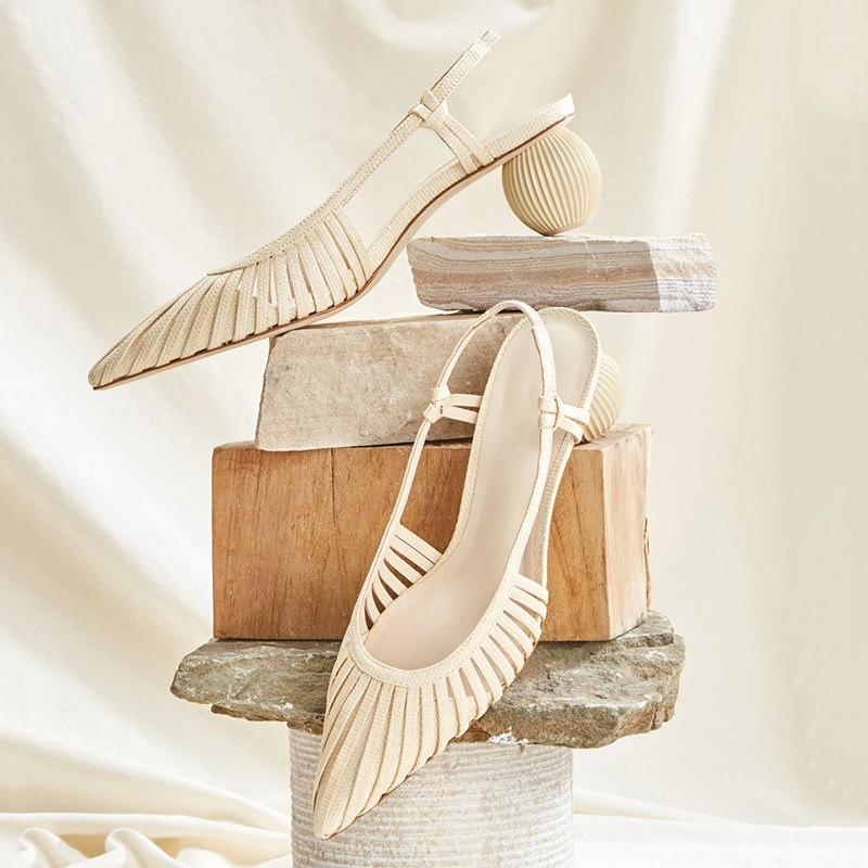 Sandal bag head white womens hollow back in summer middle heel shallow mouth pointed single shoe back trip high heels womens thick heels