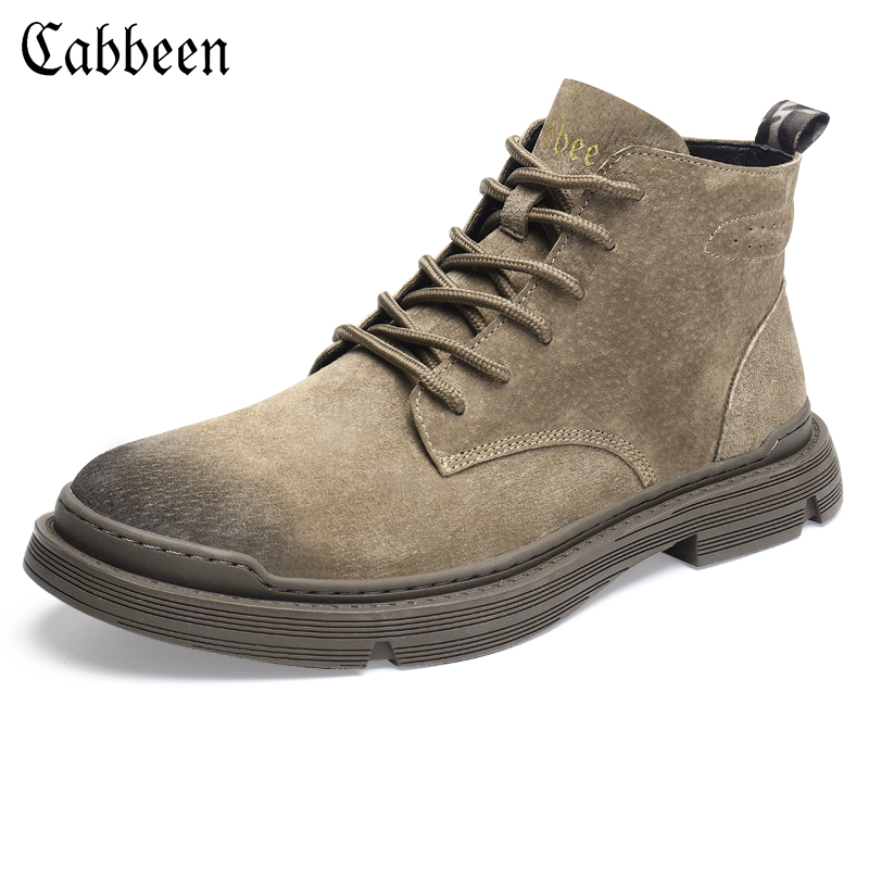 Carbine winter Martin boots men's high-top British style tooling boots leather casual men's boots mid-top men's shoes autumn