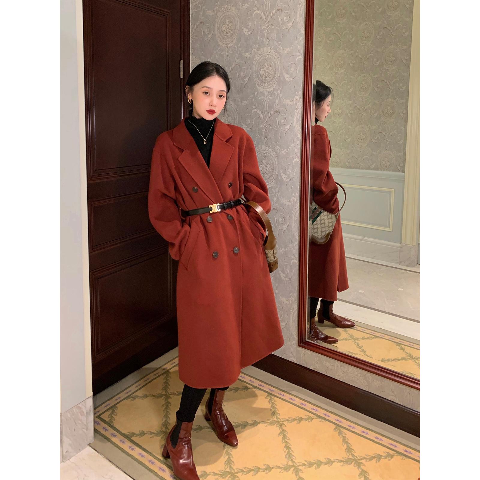 鹭青一经典复古全羊毛双面呢大衣女2020冬新款中长款气质毛呢外套