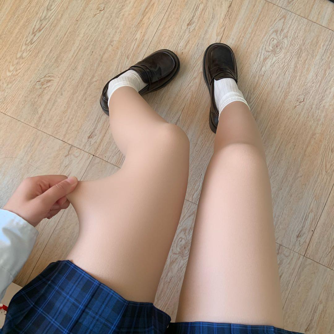 超自然の光腿裸感神器!春秋薄款打底裤女双层肉色丝袜冬加绒加厚