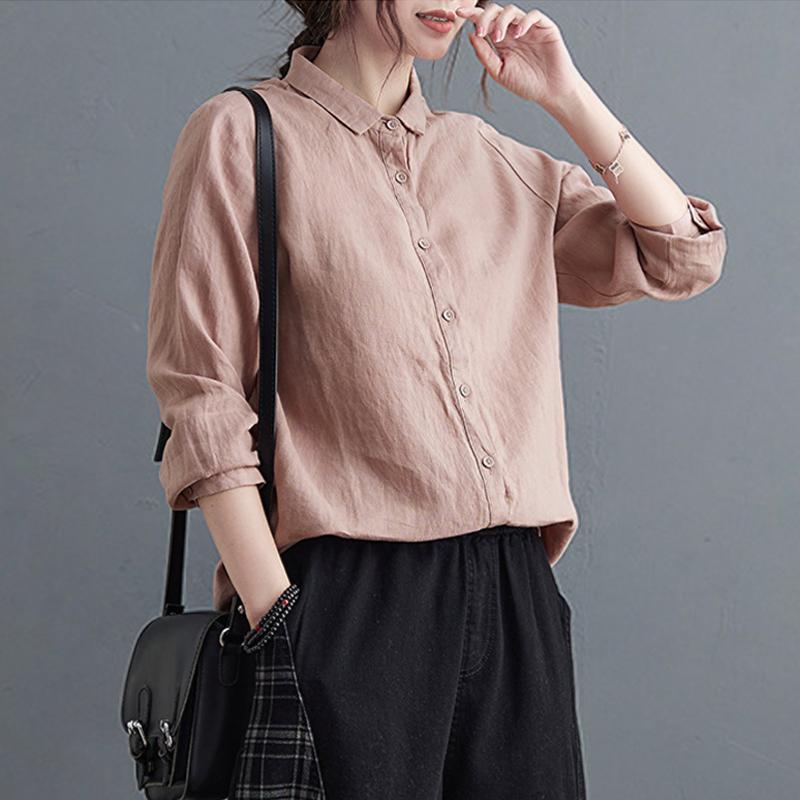 【新疆棉】春夏新款文艺棉麻衬衣女装上衣 小众宽松长袖亚麻衬衫