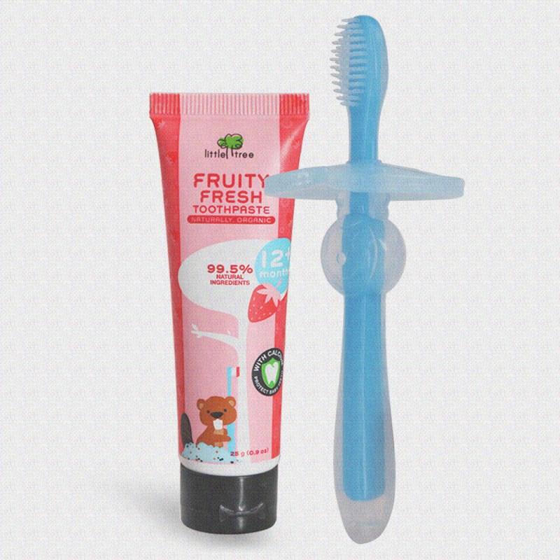 儿童牙膏套装0无氟1婴儿2可吞咽3食用进口6-12岁防蛀宝宝幼儿牙刷
