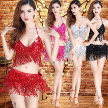 Night bar sequins tassels costume DS collar Costume Adult tie bikini suit Belly Dance Costume