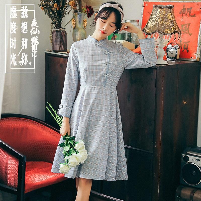 Autumn dress 2019 new Korean style art RETRO clasp small fresh Plaid long sleeve cheongsam dress