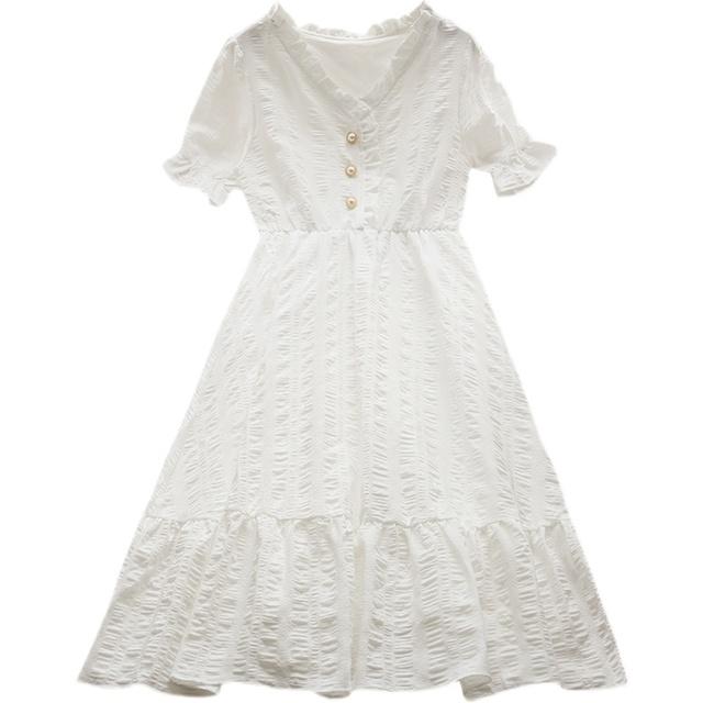夏装2021新款法式甜美小清新白色连衣裙气质设计感小众茶歇桔梗裙
