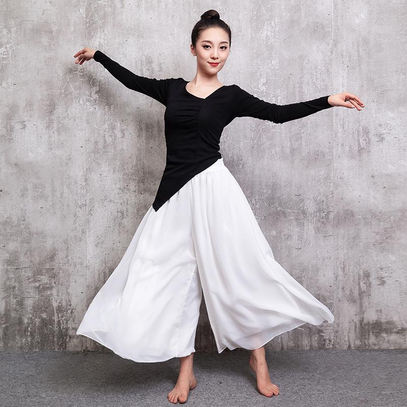 新款舞蹈服练功裤宽松飘逸雪纺阔腿裤现代舞古典民族舞演出服装