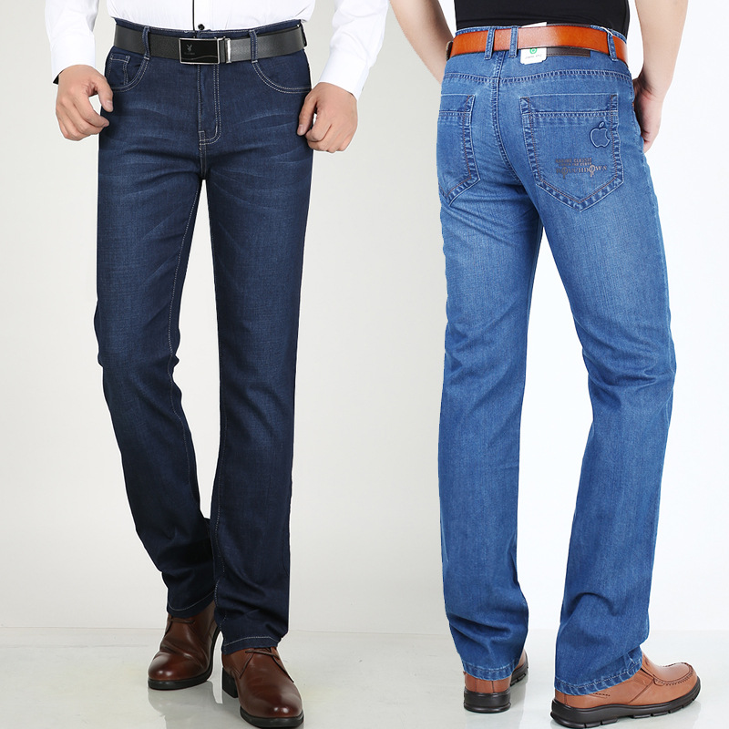 New summer mens jeans thin straight elastic fashion all-around mens jeans long trousers wrinkle free