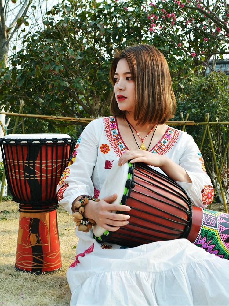 曼斯丽江非洲手鼓皮8寸10寸12寸儿童鼓初学者幼儿园成人乐器