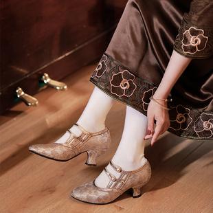 徐行记原创民国旗袍汉服搭配女鞋复古酒杯跟春高跟鞋逃离舞会