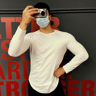 肌肉信仰健身长袖 男训练兄弟篮球秋冬运动纯色跑步棉质上衣服t恤