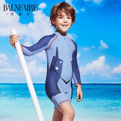 范德安男童泳衣连体套装 中大童长袖防晒铠甲小勇士儿童泳衣男孩