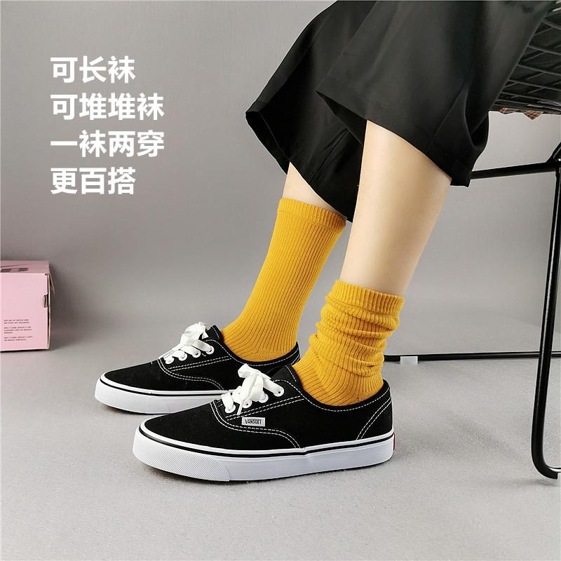 4双装紫色袜子女堆堆袜夏季薄款INS网红学院风日系韩版潮中长筒袜