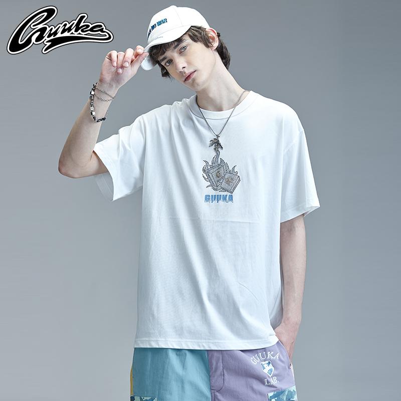 GUUKA白色短袖T恤男潮牌 学生嘻哈运动哥特风贴钻圆领五分袖T宽松