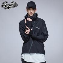 新款韩版潮流连帽外套休闲修身型夹克男2019男大码中长款风衣春季
