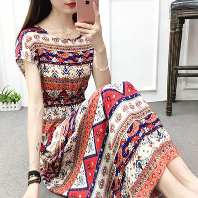 (用19.99元券)波西米亚绵绸印花连衣裙短袖沙滩裙
